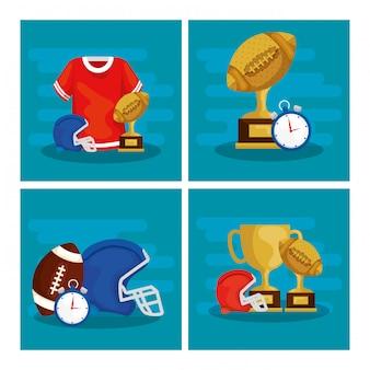 アメリカンフットボールのイラストセット
