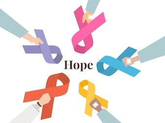 Illustration set of awareness ribbons