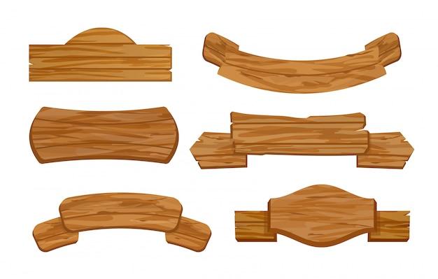 空白または空の木製の板や看板の店のイラストセット。メッセージのための印を持つ古いレトロなeバナー