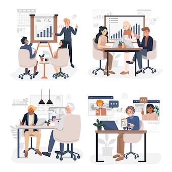 ビジネス会議と事業計画またはレポートの概念図のイラストセット