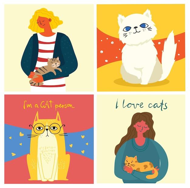 猫と猫を保持している女性のイラストセット