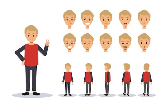 男の子のイラストセットは、さまざまなアクションでカジュアルな服のキャラクターを着ています。感情表現。正面、側面、背面のアニメーションキャラクター。