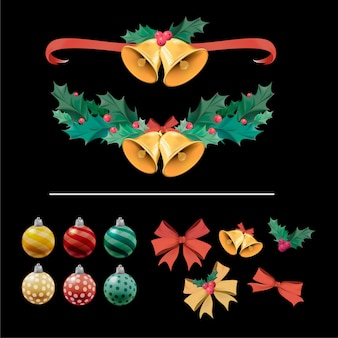 Illustration set of Christmas decoration items
