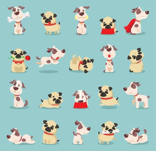 Набор иллюстраций милых и забавных мультяшных маленьких собак-щенков