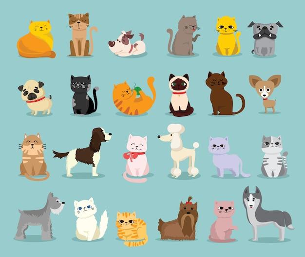 Набор иллюстраций милых и забавных персонажей мультфильмов. разные породы собак и кошек в плоском стиле