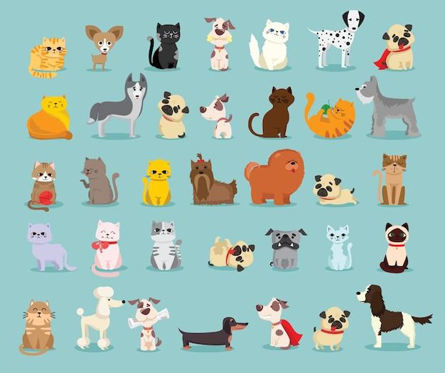 キュートで面白い漫画のペットキャラクターのイラストセット。フラットスタイルの犬と猫の異なる品種