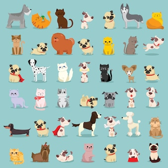 キュートで面白い漫画のペットキャラクターのイラストセット。犬と猫の異なる品種。