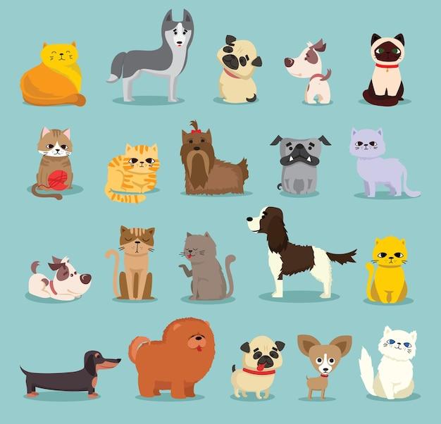 Набор иллюстраций милых и забавных персонажей мультфильмов. разные породы собак и кошек