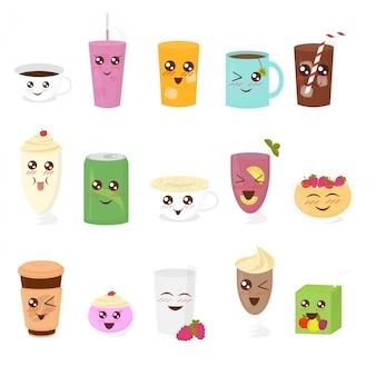 フラットな漫画のスタイルでかわいい飲み物のイラストセット。紅茶、ホットチョコレート、ラテ、コーヒー、スムージー、ジュース、ミルクセーキ、レモネード。