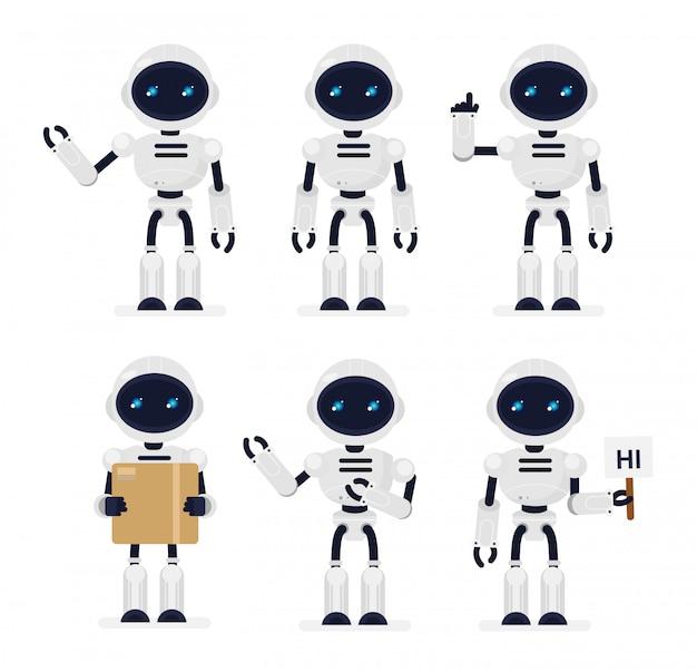 Иллюстрация набор милые роботы в разных позициях на белом фоне. технологии, концепция робота в мультфильме e.
