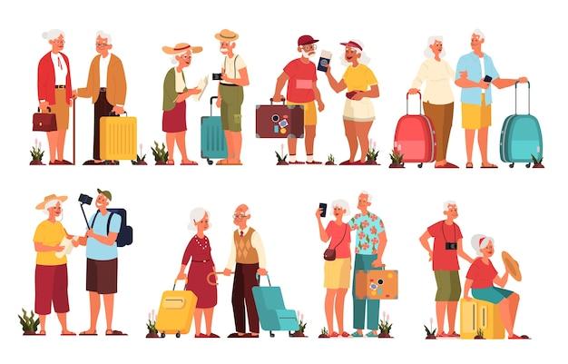 Набор иллюстраций пожилого туриста с багажом и сумочкой. старик и женщина с чемоданами. сборник старых персонажей в их путешествии. концепция путешествий и туризма