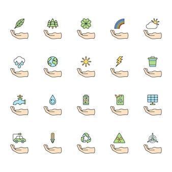 Иллюстрация набора экологического вектора