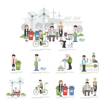 Illustration set of environmental vector