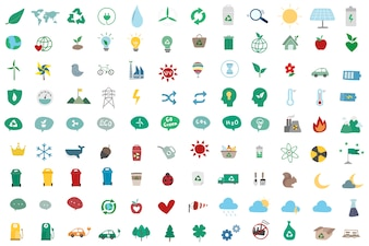 Illustration set of environmentally icons