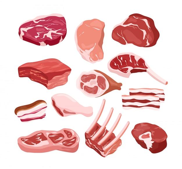 E、白い背景上のオブジェクトの新鮮なおいしい肉アイコンのイラストセット。グルメ製品、料理、ステーキ、バーベキューのコンセプト。
