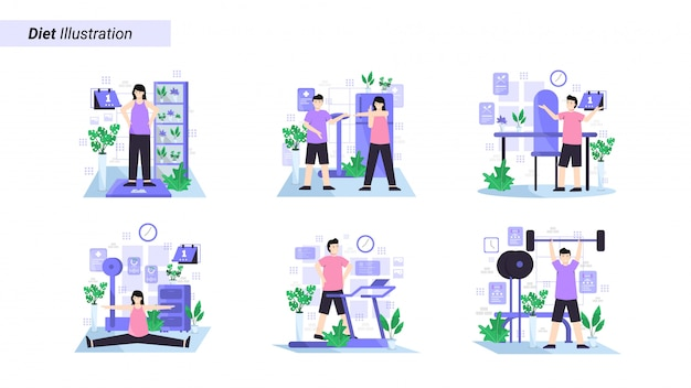 Набор иллюстраций: сесть на диету с регулярными упражнениями каждый день и поддерживать здоровую диету
