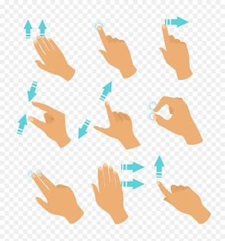 手のイラストセット、さまざまな位置のタッチスクリーンジェスチャー、eで透明な背景に移動指の方向を示す青い色の矢印で指が移動します。