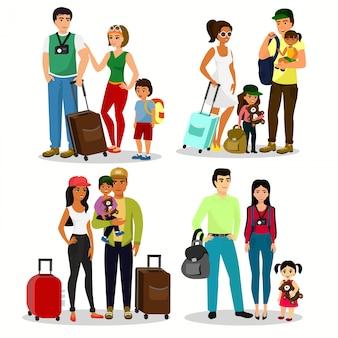子供と一緒に旅行する幸せな人々のイラストセット。家族旅行。父の母とフラットな漫画のスタイルで空港で荷物を持つ子供。