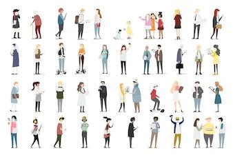 Illustration set of human avatar vector