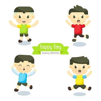 행복 한 얼굴을 가진 소년 점프의 그림 세트