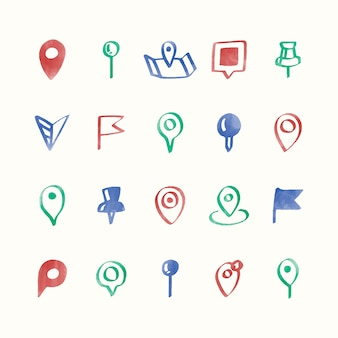 Illustration set of map pin icons