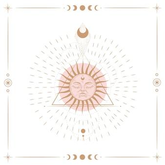 Набор иллюстраций фаз луны. различные этапы лунной активности в стиле винтажной гравюры. знаки зодиака