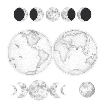 Набор иллюстраций фаз луны. различные этапы лунной активности в стиле винтажной гравюры.