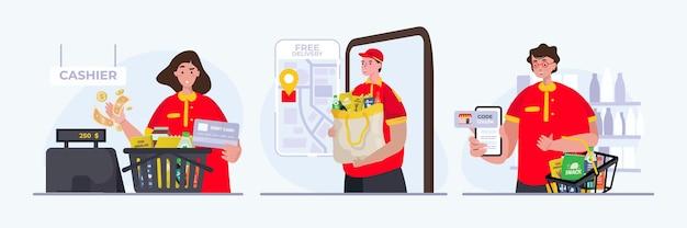 Набор иллюстраций людей как работников супермаркета с концепцией обслуживания покупок