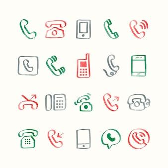 電話アイコンのイラストセット