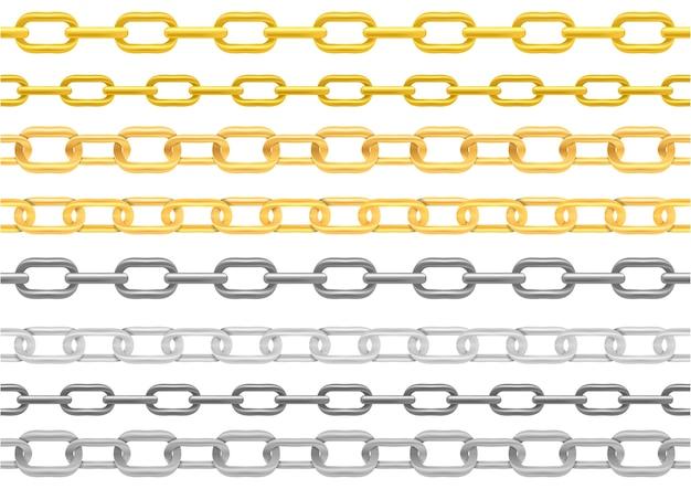 Набор иллюстраций реалистичной металлической цепи