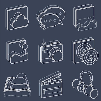 Illustration set of recreation icons