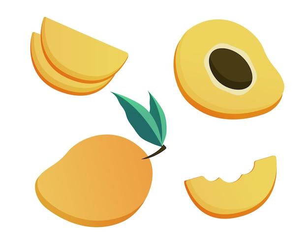Набор иллюстраций спелых плодов персика