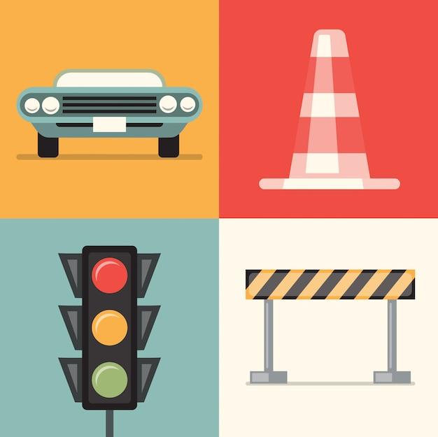 Набор иллюстраций дороги: автомобиль, конус, светофор, ремонт