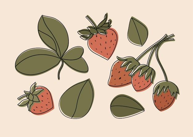 고립 된 딸기의 그림 세트