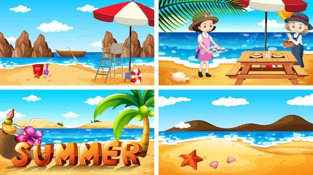 해변에서 여름의 그림 세트