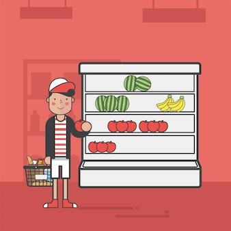 Illustration set of supermarket