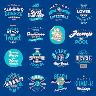 イラスト-旅行と夏の休暇のタイプのセット