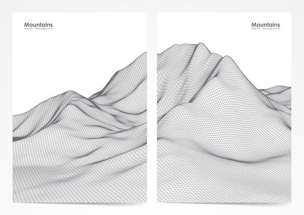 イラスト:ワイヤーフレームの山の風景と2つのポスターのレイアウトのセット。
