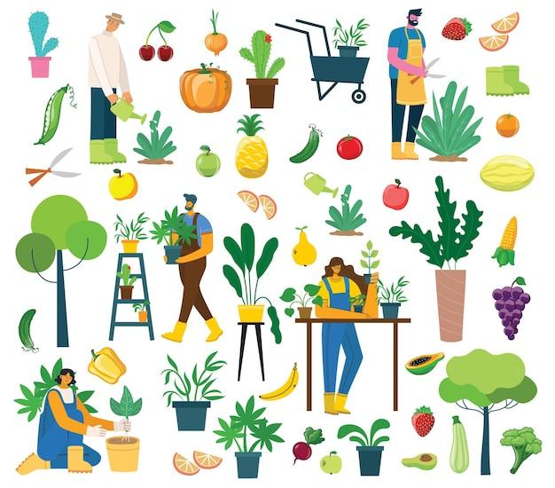 フラットなデザインの有機エコ食品と村の人々のイラストセット