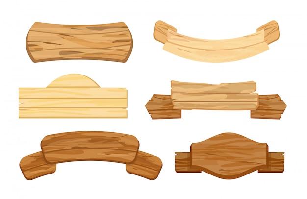 木製の板や看板のイラストセット。レトロなビンテージバナー。標識またはポインター、白い背景で隔離の異なる色と形のフラットスタイルの木製の質感と道標。