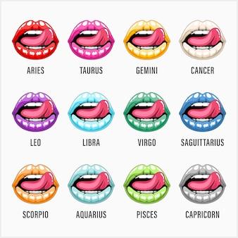 Набор иллюстраций знаков зодиака