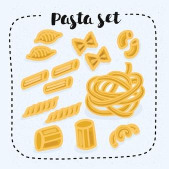 Illustration of set of pasta shapes. gomiti rigati, faralle, cellentani, penne, fusilli, rigatoni fettuccine