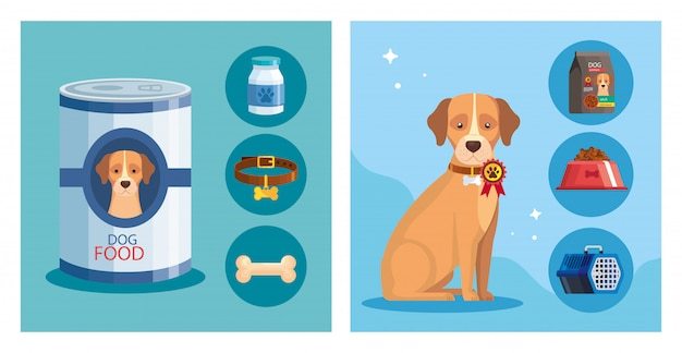 Illustration set of pet shop with elements