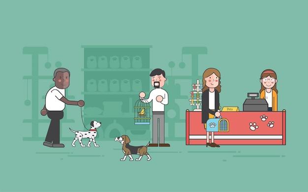 Illustration set of pet shop