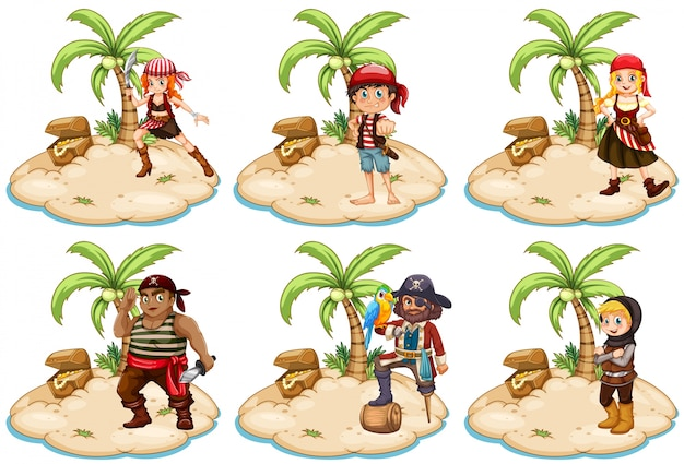 Illustration of set of pirates on the island