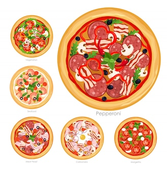 Illustration set of pizza with different ingredients. delicious vegetarian pizza and pizza with meat and mushrooms collection on white background,healthy food concept.