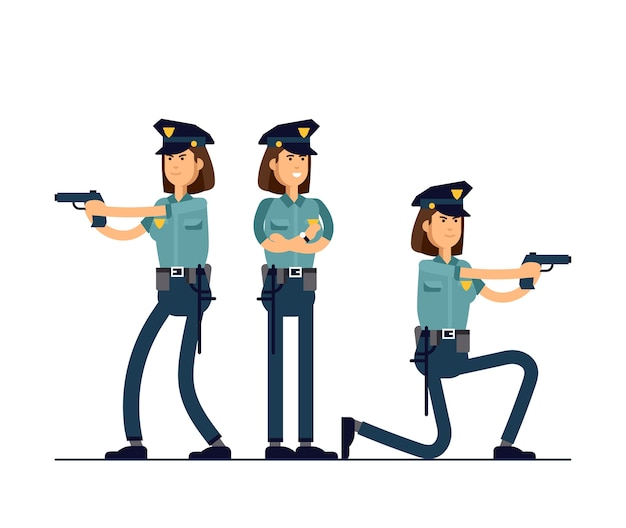 Illustration set policewoman character.  different poses set