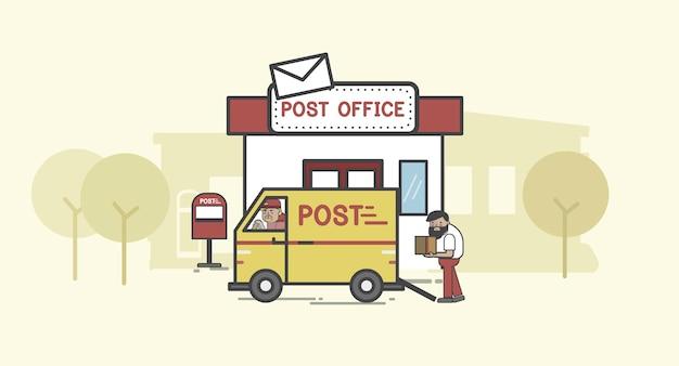 Insieme dell'illustrazione di consegna di posta