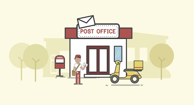 Illustration set of post delivery