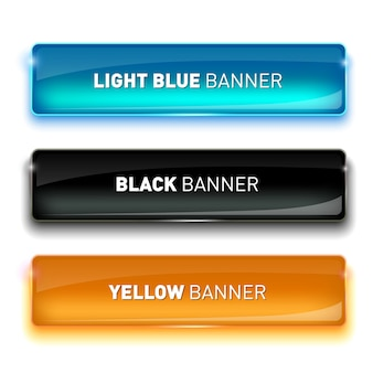 Illustration of set of realistic glass banners